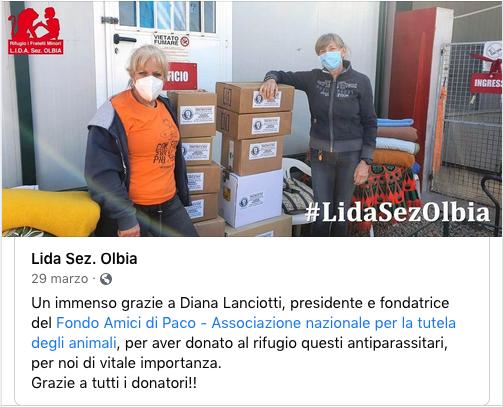 Campagna Antiparassiti 2021 Fondo Amici di Paco – I ringraziamenti dei Fratelli Minori di Olbia