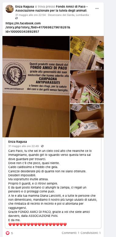 Campagna Antiparassiti 2021 Fondo Amici di Paco – I ringraziamenti dell'Associazione PAN di Catania